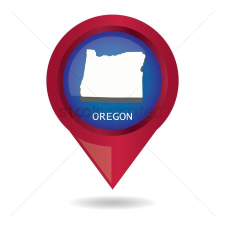 Oregon : Map pointer with oregon state