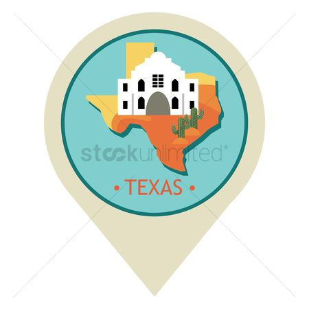 Texas : Map pointer with texas state
