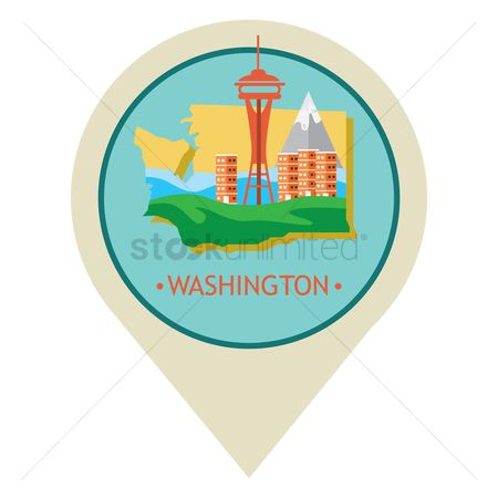 Needle : Map pointer with washington state