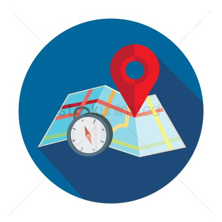 Map pointer : Map with pin pointer and direction compass