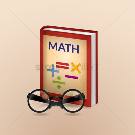 Math : Math book with spectacles