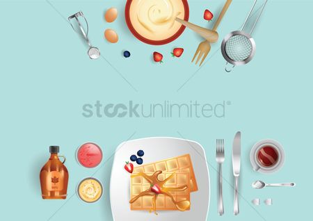 Hotcake : Meal preparation flat lay design