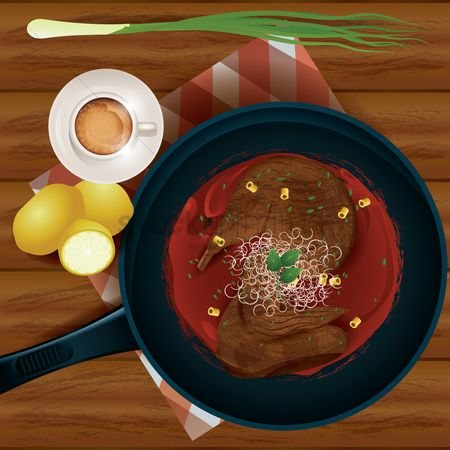 Duck : Meat in a frying pan