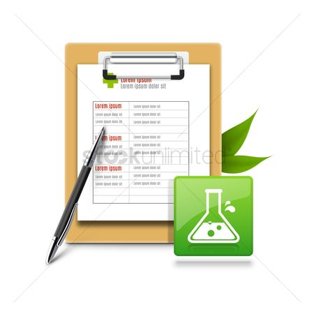 Laboratory : Medical report with pen