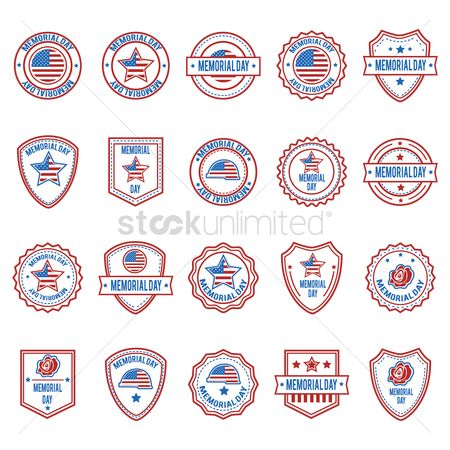 Patriotic : Memorial day labels