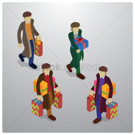 Retails : Men holding shopping bags