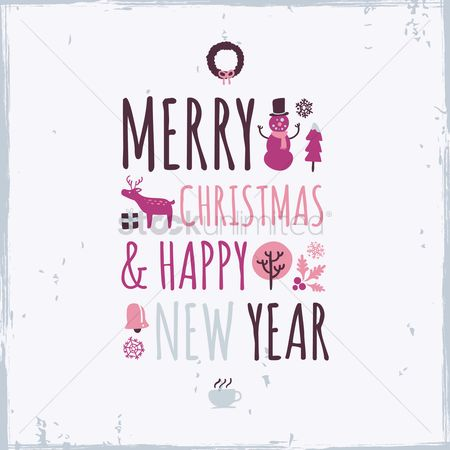 Coffee cups : Merry christmas and happy new year greeting