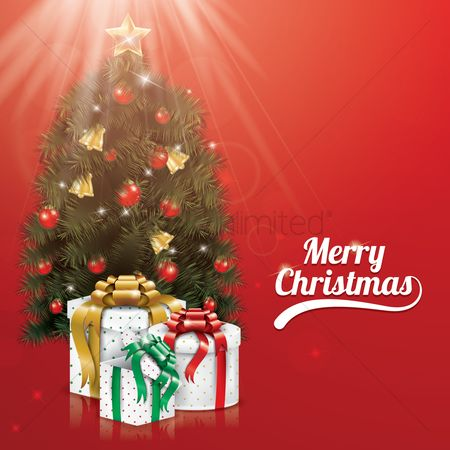 Gifts : Merry christmas with christmas tree and gift boxes