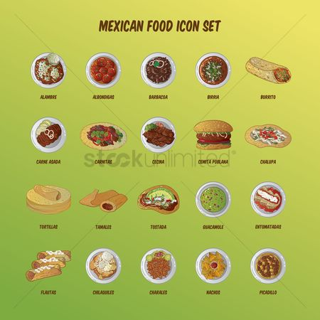 Plates : Mexican food icon set
