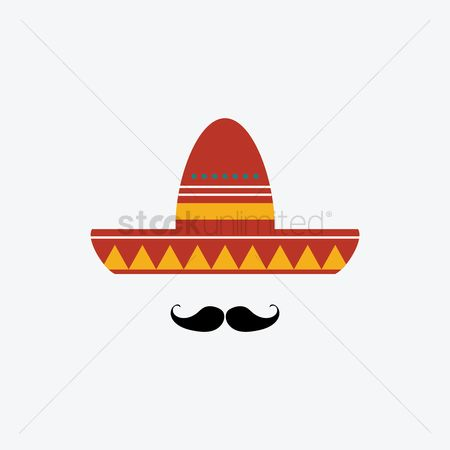 Headdress : Mexican hat with mustache