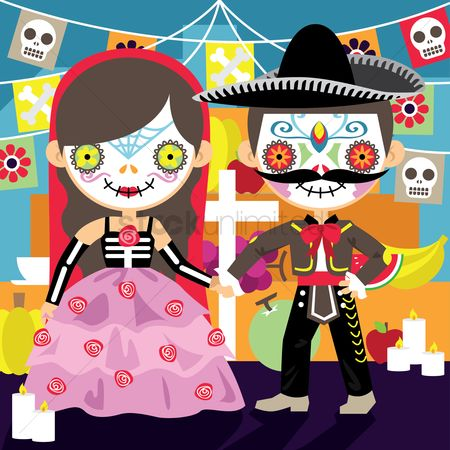 Mexicans : Mexicans celebrating day of the dead