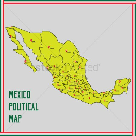 Tricolored : Mexico political map