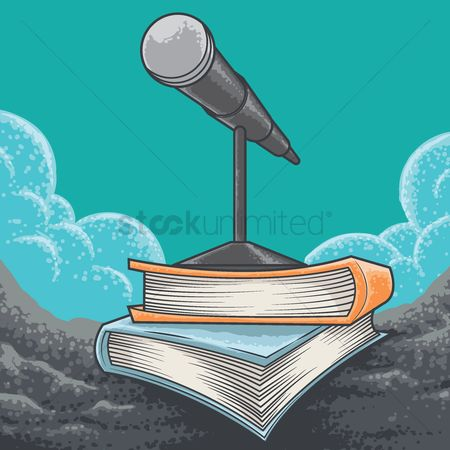 Broadcasting : Microphone on books