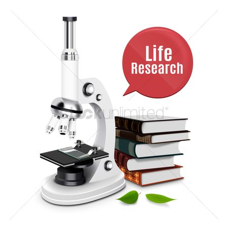 Laboratory : Microscope with books