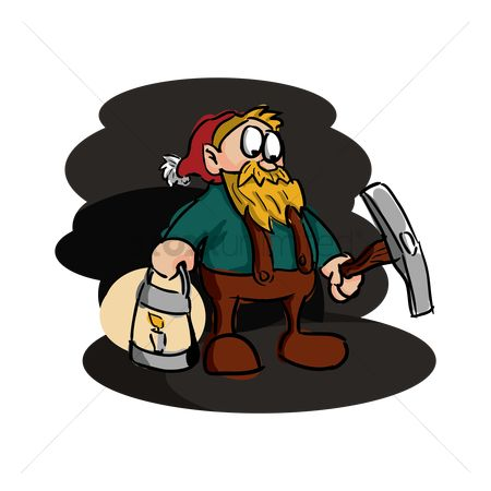 Pick axe : Miner with axe and lantern