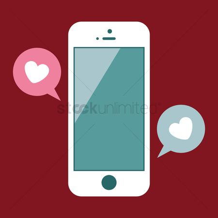 Love speech bubble : Mobile and conversation