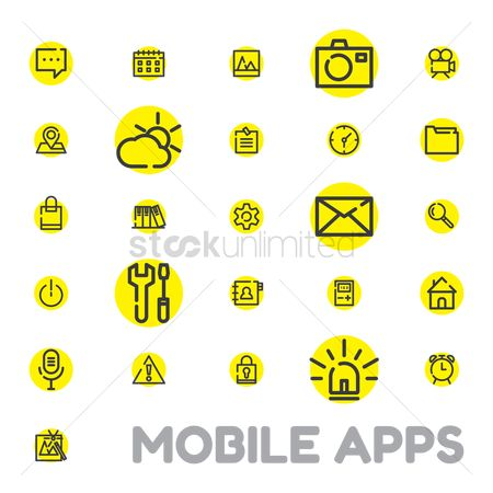 Voice recorder : Mobile apps icon set