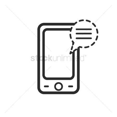 Notification : Mobile phone icon with notification