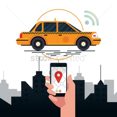 Taxis : Mobile transportation service concept