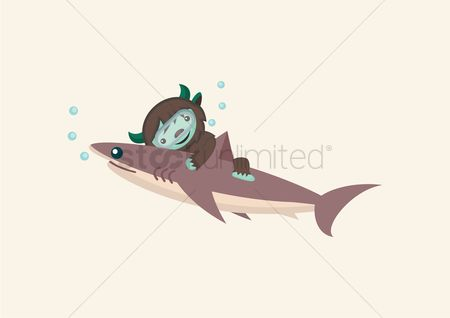 Horned : Monster under water with shark