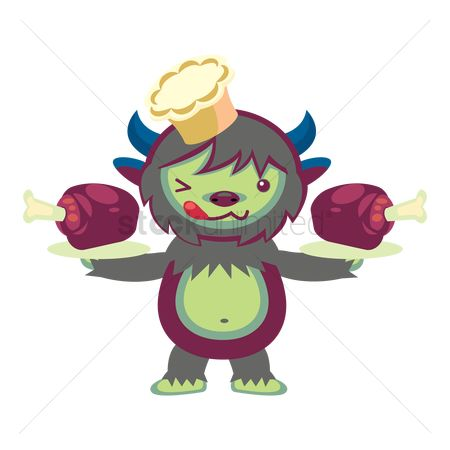 Horned : Monster with drumstick in a plate