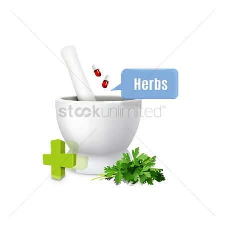Medicines : Mortar and pestle with speech bubble