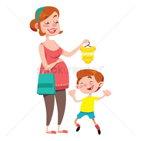 Handbags : Mother showing a baby romper to her son