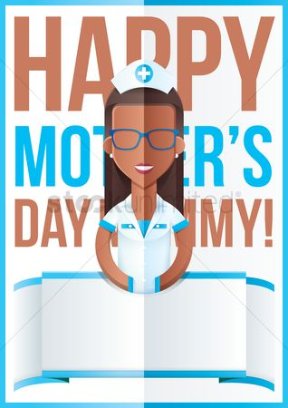 Fold : Mothers day design with nurse