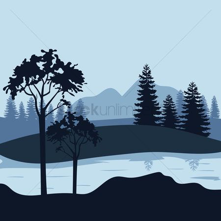 Mountains : Mountain and trees landscape