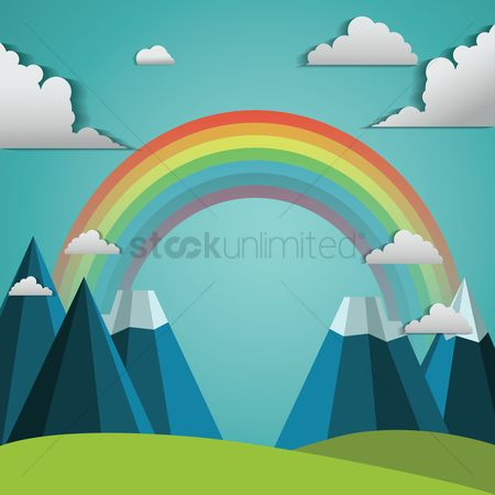 Cutout : Mountain landscape with rainbow