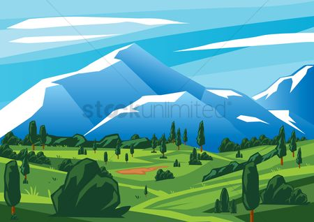 Grass background : Mountains landscape