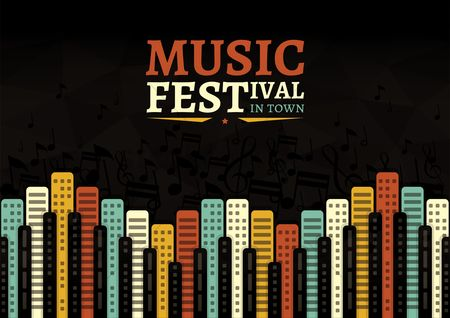 Musicals : Music festival in town poster design