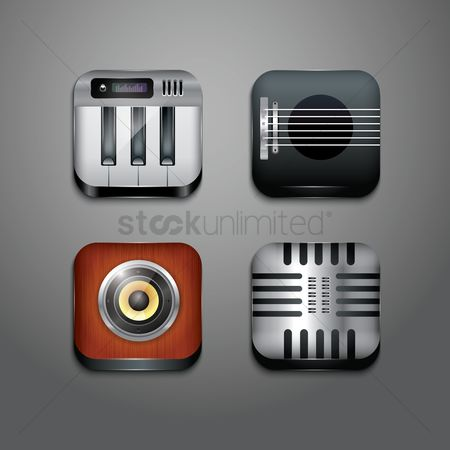 Broadcasting : Musical instrument icons set