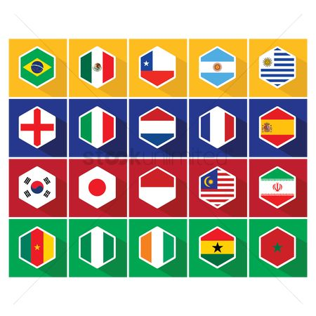 England : National flag hexagon button set