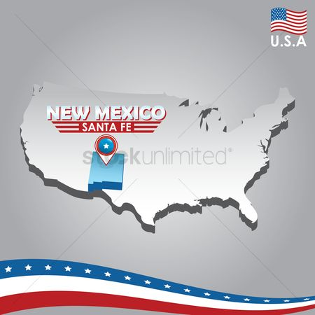 Capital city : Navigation pointer indicating new mexico on usa map
