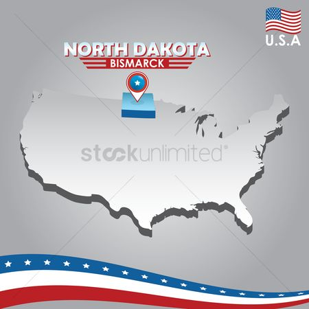 Dakota : Navigation pointer indicating north dakota on usa map