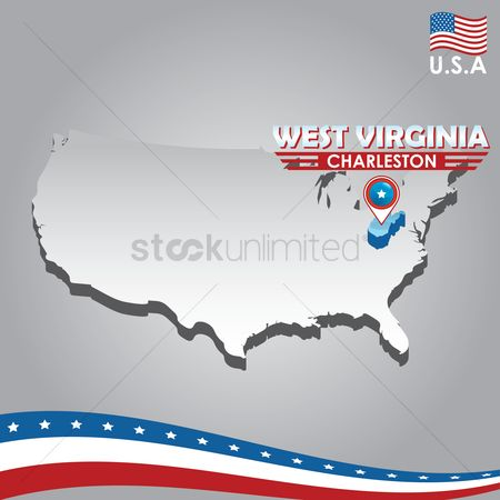 Capital city : Navigation pointer indicating west virginia  on usa map