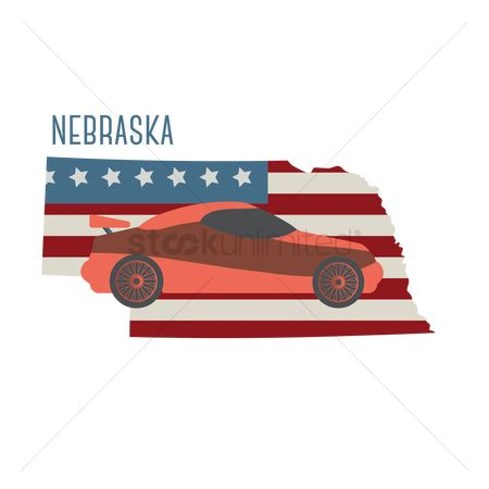 Auto racing : Nebraska state map with sports car