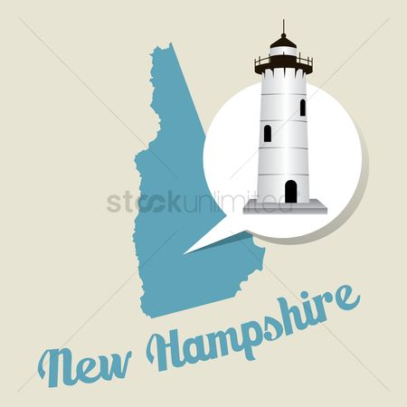 Lighthouses : New hampshire map with portsmouth harbour light icon