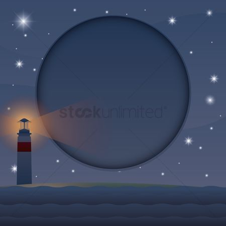 Lighthouses : Night view of seashore with lighthouse