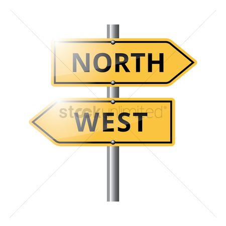 Attention : North and west road sign
