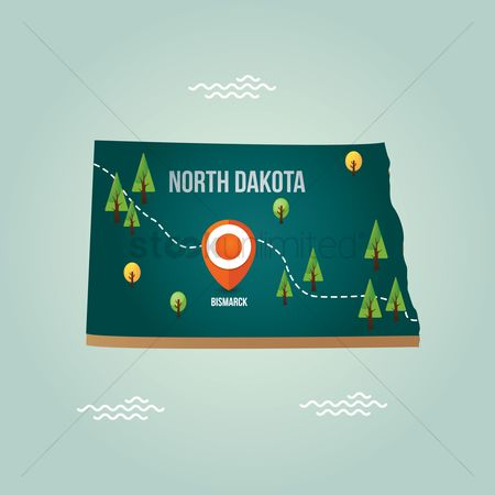 Dakota : North dakota map with capital city
