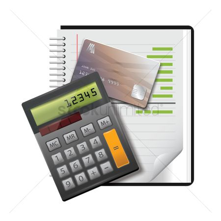 Pad : Notepad with banking card and calculator
