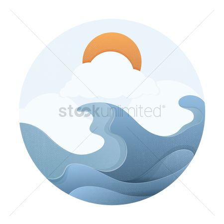 Ocean : Ocean waves with sun