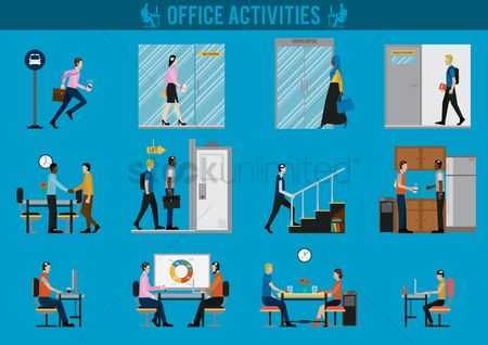 Eat : Office activities set