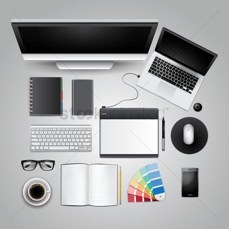 Pad : Office and desk supplies on white background