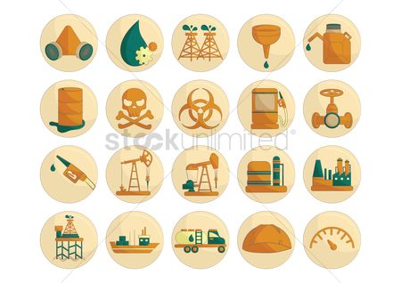 Hazard : Oil and gas icons