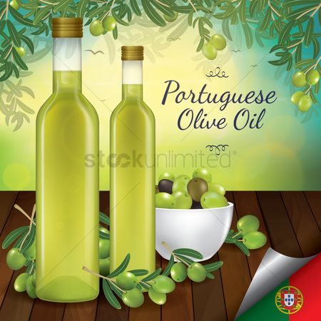 Country : Olive oil in bottles