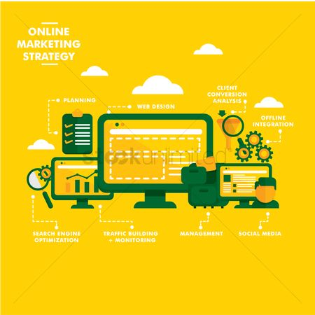 Market : Online marketing strategy concept