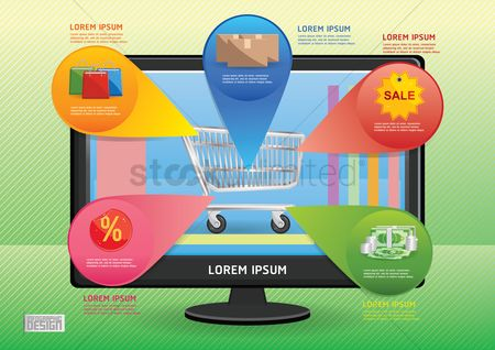 Trolley : Online shopping infographic